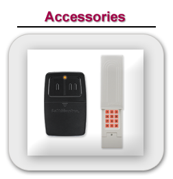 Accessories such as a garage door opener remote and garage door parts